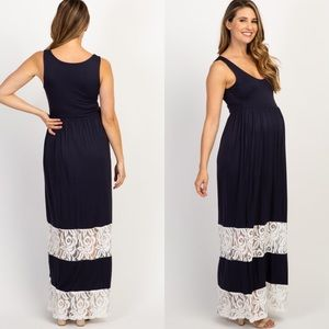 PinkBlush Navy Blue with Cream Lace Maxi Dress